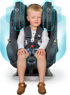 Comprising Air Protect and GCELL Crash Absorbing Technology, the Safety Shield protects your child's body during an accident.